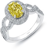 Lafonn Platinum Plated Sterling Silver Simulated Diamond Canary Oval Cocktail Ring