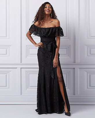 Le Château Lace Off-the-Shoulder Ruffle Gown