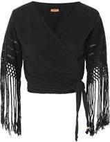 Caravana - Luum Fringed Cotton-gauze Wrap Top - Black