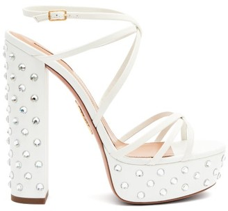 Aquazzura Disco 140 Crystal Leather Platform Sandals - White