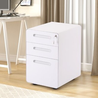 Latitude Run 3-Drawer Mobile Vertical Filing Cabinet Color: White