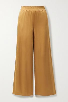 Sally LaPointe Satin-crepe Wide-leg Pants - Camel