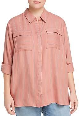 Seven7 Jeans Plus Striped Roll-Cuff Shirt