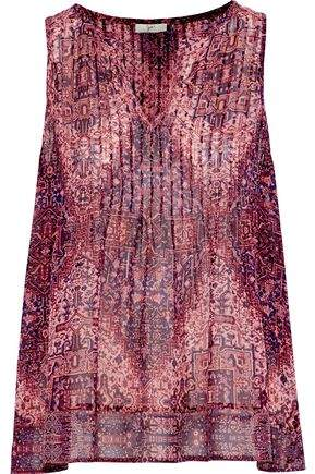 Joie Gretel B Pintucked Printed Washed-Silk Blouse