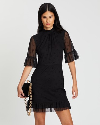 Miss Selfridge Mesh Bow Flock Ruffle Mini Dress