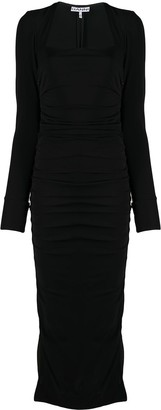 Ganni Square-Neck Fitted Dress