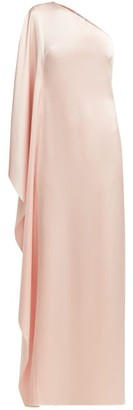 Osman Oleander Cape-sleeve One-shoulder Satin Gown - Womens - Light Pink