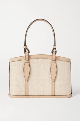 Hunting Season Basket Small Leather-trimmed Raffia Tote - Cream