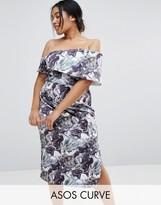 Asos Marble Print One Shoulder Clean Scuba Midi Dress