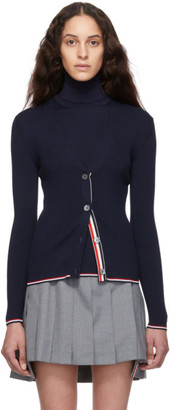 Thom Browne Navy Rib Stitch Tipping Stripe Cardigan