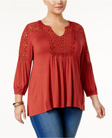Style&Co. Style & Co Plus Size Crochet-Trim Peasant Top, Only at Macy's