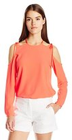 Nicole Miller Women's Poly Crepe Tie Cold Shoudler Top