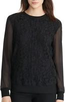 Lauren Ralph Lauren Sheer Sleeve Lace Sweatshirt