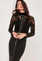 Missguided High Neck Lace Eyelet Front Crop Top Black