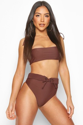 boohoo Plaited High Waist Belt Bandeau Bikini