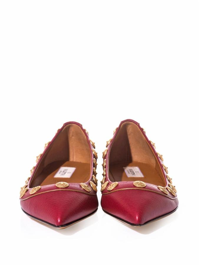 Valentino Gryphon-stud leather flats