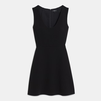 Theory Scoop Neck Flounce Dress in Double Crepe