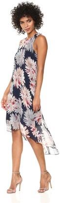 Karen Kane Women's Etched Lotus Hi-lo Hem Dress