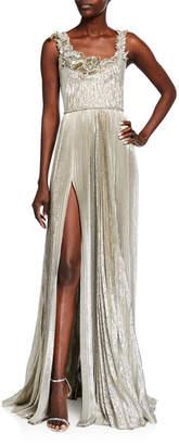 Oscar de la Renta Metallic Pleated Gown