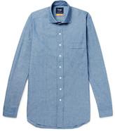 Drakes Drake's - Easyday Slim-fit Cutaway-collar Cotton-chambray Shirt - Blue