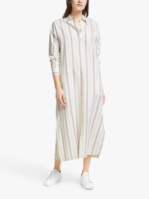 Max Mara Papy Linen Striped Midi Dress, Creamy Lines