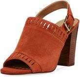 Tahari Cutout Suede Slingback Sandal, Red
