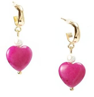 I'mmany London Pink Sugar Chibi Jade Heart Drop Hoop Earrings - Fuchsia
