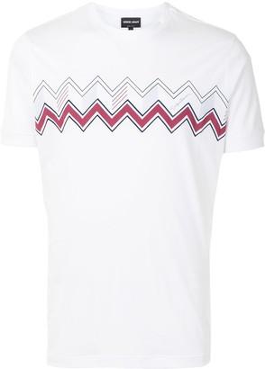 Giorgio Armani chevron-print cotton T-shirt