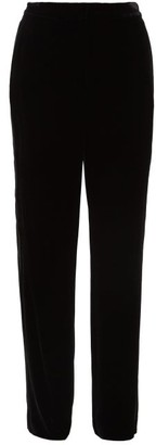 Diane von Furstenberg Georgina Satin-stripe Velvet Wide-leg Trousers - Black
