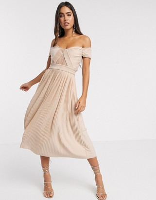 ASOS DESIGN premium lace and pleat off-the-shoulder midi dress in champagne