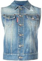 DSQUARED2 microstudded sleeveless denim jacket - women - Cotton/Spandex/Elastane/Aluminium - 40