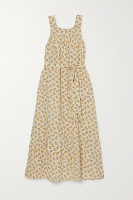 DÔEN Eve Belted Tiered Floral-print Silk Midi Dress - Yellow