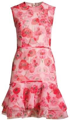 Jason Wu Collection Poppy-Print Crinkle Organza Cocktail Dress