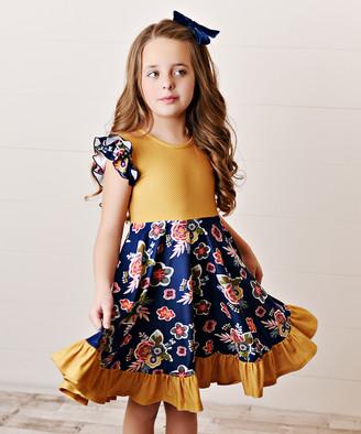 Oopsie Daisy Girls' Casual Dresses Navy - Navy Blue & Mustard Floral Ruffle-Hem Angel-Sleeve Dress - Toddler & Girls
