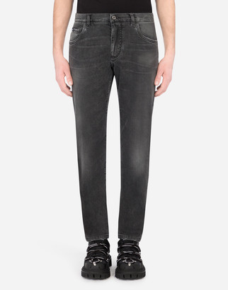 Dolce & Gabbana Washed Gray Slim-Fit Stretch Jeans