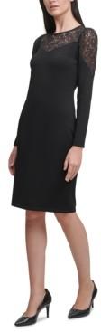 Calvin Klein Lace-Trim Sweater Dress