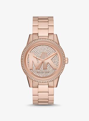 Michael Kors Oversized Ritz Pave Logo Rose Gold-Tone Watch - Rose Gold