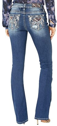 Miss Me Mid-Rise Bootcut with Feather Embellished Pocket in Dark Blue (Dark Blue) Women's Jeans