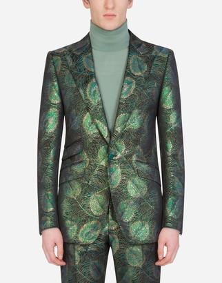 Dolce & Gabbana Jacquard Sicilia-Fit Jacket With Feather Design
