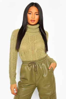 boohoo Petite Cable Knit Roll Neck Cropped Sweater