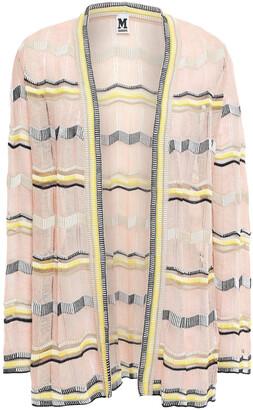 M Missoni Striped Crochet-knit Cotton-blend Cardigan