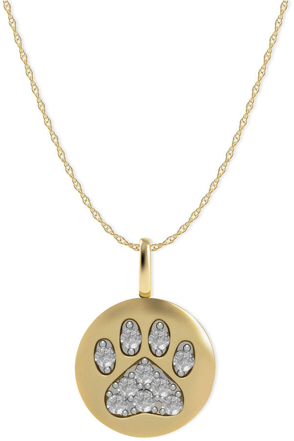 Macy's 14k Gold Necklace, Diamond Accent Paw Disk Pendant