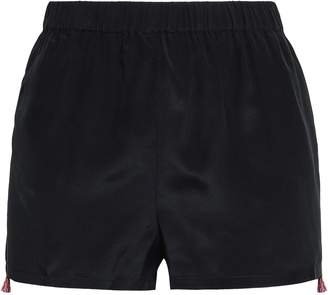 Figue Embroidered Silk Crepe De Chine Shorts