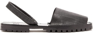 Stine Goya Crocodile-effect Leather Sandals - Mens - Black