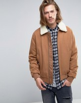 Asos Wool Mix Bomber Jacket With Fleece Collar In Camel