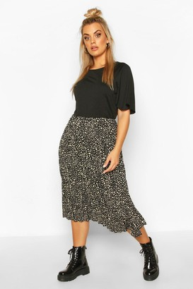 boohoo Plus 2 In 1 Printed Pleated Skater Dress
