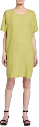 Eileen Fisher Petite Organic Handkerchief Linen Round-Neck Dress