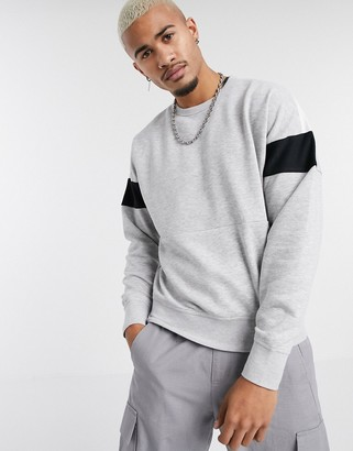 Jack and Jones Core drop shoulder taped sleeve crew neck sweat in gray
