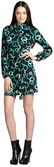 Julie Brown JB by green circle print long sleeve devlin dress