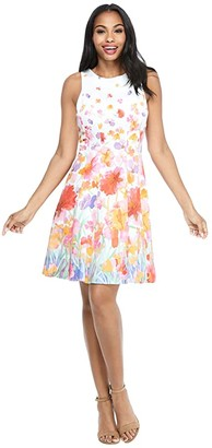 Maggy London Watercolor Iris Fit-and-Flare Dress (Soft White/Red) Women's Dress